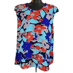 RW&CO. Blouse Blue Red Floral Cap Sleeve